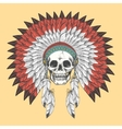 American indian skull in feather headdress vector image vector image