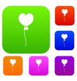 balloon in the shape of heart set color collection vector image vector image