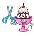 barber ice cream sundae character cartoon vector image vector image