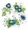 blue flowers and bug vector image