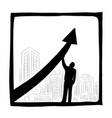 businessman raising arrow for success vector image vector image