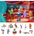 cartoon colorful traveling circus composition vector image vector image