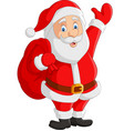 cartoon santa claus carrying sack vector image vector image