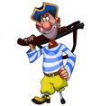 cheerful cartoon legged pirate with weapon vector image vector image