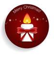 Christmas Greeting Card with candle and bow vector image vector image