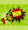 comic book text advertising megaphone wow vector image vector image