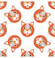 cute cats faces seamless kids white orange pattern vector image vector image