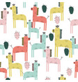 cute giraffe and cactuses seamless pattern vector image vector image