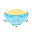 cute happy bowl oatmeal porridge meditate vector image vector image