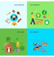 Dog 4 flat icons square banner vector image