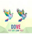 dove animal pet pop art low poly line logo icon vector image