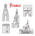 french travel landmark icon of dinan and calais vector image vector image