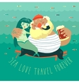 Funny old sailor with cute mermaid vector image vector image