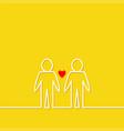 gay marriage pride symbol two white contour man vector image vector image