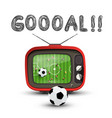 goal symbol with soccer match on retro analog tv vector image vector image