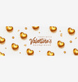 gold valentines day background 3d hearts on vector image