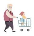 grandfather and granddaughter cartoon characters vector image