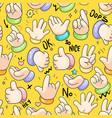 hand gestures cartoon background vector image