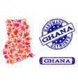 handmade composition of map of ghana and scratched vector image