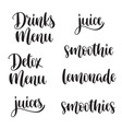 healthy drinks menu lettering set vector image vector image