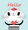 holiday greeting card with a loving funny cat vector image