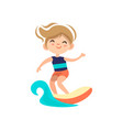 kid surfing around blue ocean wave cartoon vector image vector image