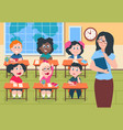 kids in classroom teacher and pupils in vector image vector image