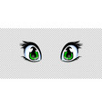 manga anime green eyes for creation cartoon vector image