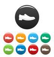 men shoe icons set collection circle vector image