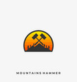 mountain hammer template vector image vector image