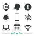 Notebook and smartphone icon smart watch symbol