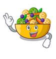 okay cartoon bowl healthy fresh fruit salad vector image vector image