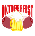 Oktoberfest Beer mug between tits Symbol of Beer vector image vector image