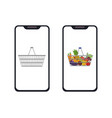 phone with full and empty shopping basket icon vector image vector image
