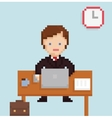 pixel art illistration office businessman vector image