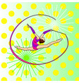 pop art rhythmic gymnastics girl with a ribbon on vector image
