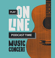 poster for online music concert with guitar vector image
