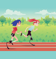 prosthetic runners in the park vector image vector image