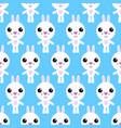 seamless pattern of cartoon bunny on blue vector image