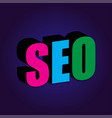 seo 3d on a blue background vector image vector image