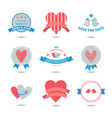 set heart banners ribbons love badges vector image vector image