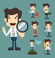 Set of businessman aimming target characters poses vector image vector image