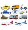 set transportation vehicle vector image