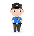 smiling little boy in policeman uniform vector image vector image