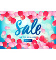 spring sale with pink flying petals web banner or vector image vector image