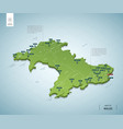 stylized map wales isometric 3d green map vector image vector image