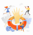 tiny liveguards around lifesaver and hand vector image