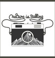 vintage hipster camera with mountains vector image vector image