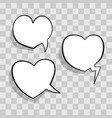 white speech bubble in heart shape for chat in vector image