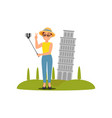woman taking selfie in front of leaning tower of vector image vector image
